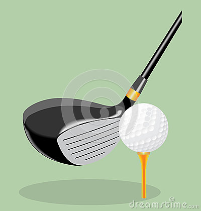 Vector realistic illustration. Golf club and ball. putter.