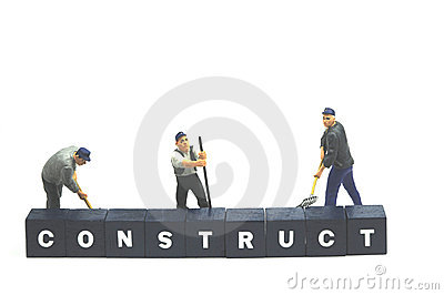 Workers behind word construct