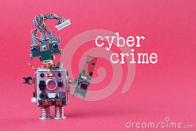 Cybercrime and data hacking concept. Retro robot with usb flash storage stick, stylish computer character blue eyed head