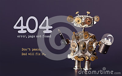 Error 404 page not found template for website. Steam punk style toy robot  with screaw driver and light bulb lamp