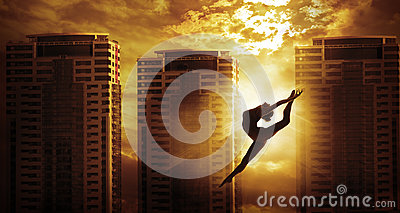 stock image of high rise building sport woman dancing jump, dancer silhouette