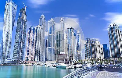 Modern and luxury skyscrapers in Dubai Marina