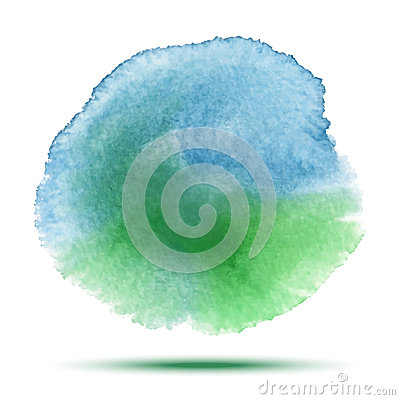 Bright blue - green watercolor vector stain. Vibrant watercolor vector spot design element on white background.