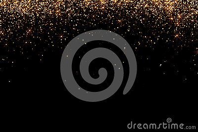 Waterfalls of golden glitter sparkle bubbles champagne particles stars on black background,happy new year holiday