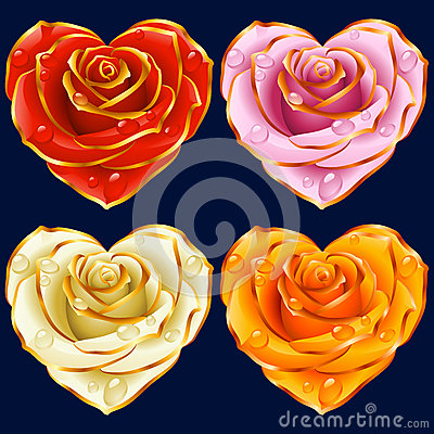 Vector Rose Heart set. Red, yellow, pink and white flowers