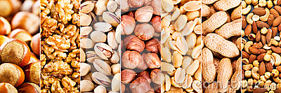 Collage of mixed nuts