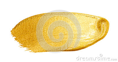 Vector golden brush stroke. Watercolor texture paint stain isolated on white. Abstract hand painted background for greeting, gift,