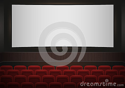 Interior of a cinema movie theatre. Red cinema or theater seats in front of white blank screen. Empty Cinema auditorium