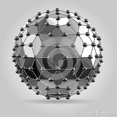 Abstract 3d faceted ball with spheres connections lines.