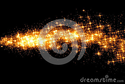 Gold glow glittering stars bokeh tail transition sparkle effect on black background, holiday happy new year
