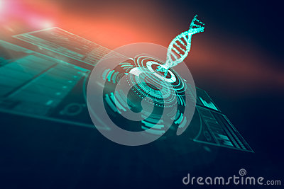 Digitally generated image of illuminated volume knob with dna strand 3d