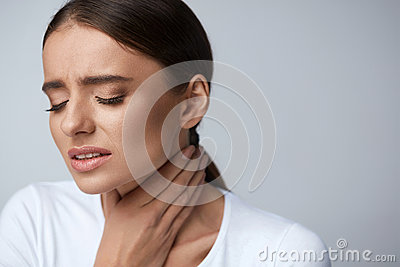 Sore Throat. Sick Woman Suffering From Pain, Painful Swallowing.