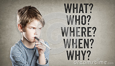 5W questions, what, who, where, when, why, Boy on grunge backgro