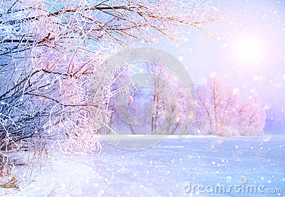 Beautiful winter landscape scene with ice river