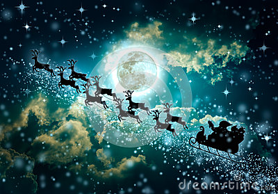 Christmas green background. Silhouette of Santa Claus flying on