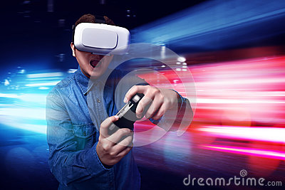 Man playing video games wearing vr goggles