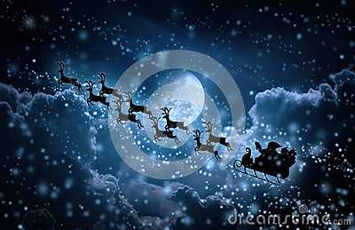 Christmas background. Silhouette of Santa Claus flying on a sleigh pulled by reindeer.