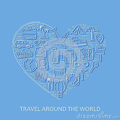 Travel line white icons in heart shape. I love travel - vector illustration concept for cover card, brochure or magazine, invitati