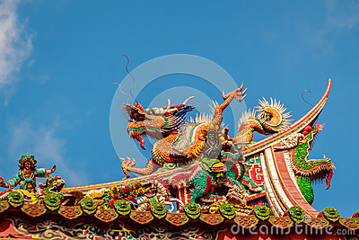 Beautiful Chinese dragon sculpture on the roof at Lungshan Templ