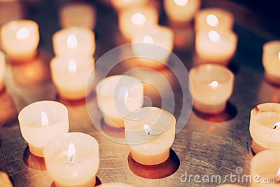 Group Of Candles In Church. Candles Light Background