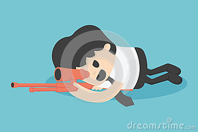 Concept illustration businessman sneak attack bloodiest shoot