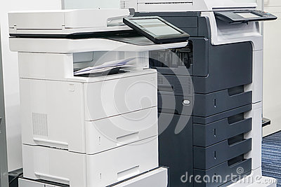 Close up two office printers