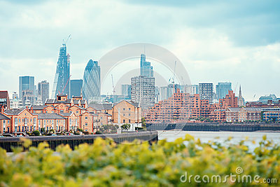 View of London Docklands with the Thames River, downtown, cucumber and city center