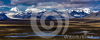AUGUST 26, 2016 - Lakes of Central Alaskan Range - Route 8, Denali Highway, Alaska, a dirt road offers stunning views of Mnt. Hess
