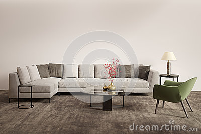 Contemporary grey living room with green armchair