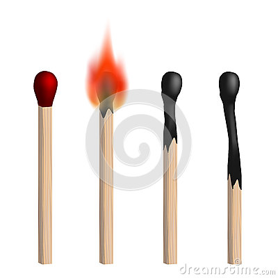 Set of vector isolated realistic matches.