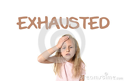 Learning English language vocabulary school card with the word exhausted
