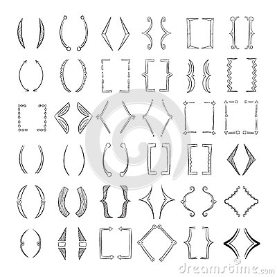 Hand drawn parenthesis, sketchy square brackets vector collection