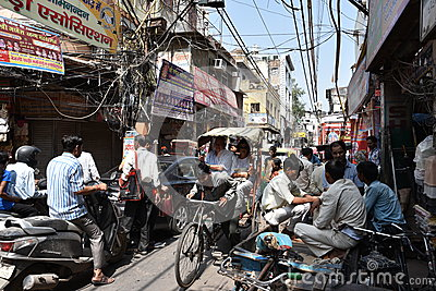Maddening Crowded streets of old Delhi, it is usual day at Delhi