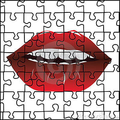 Puzzle and red lips