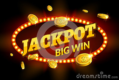 Jackpot gambling retro banner sign decoration. Big win billboard for casino. Winner sign lucky symbol template with coins money