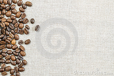 Burlap Sackcloth Canvas and Coffee Beans Photo Background. Copy