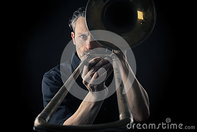 Musician with a trombone