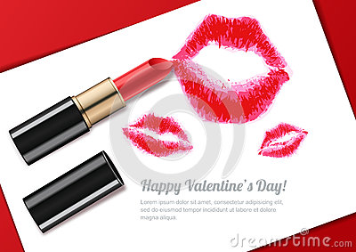 Vector illustration of womens lips kiss and red lipstick. Valentines day greeting card or banner design.