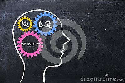 Emotional quotient and intelligence quotient EQ and IQ concept with human brain shape and gears