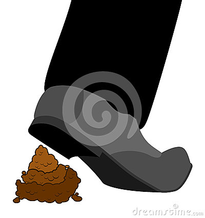 Stepping on shit. Shoes and turd. footwear and poop isolated