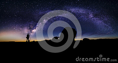 Astro Photographer in the desert and view of Milky Way Galaxy