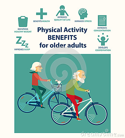 informational poster template for senior. Physical activity benefits for older adults.