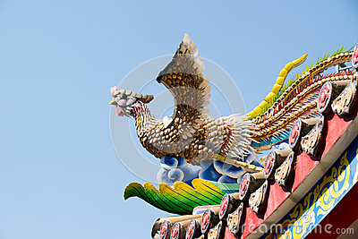Traditional Chinese Ceramic bird sculpture on Roof Shrine