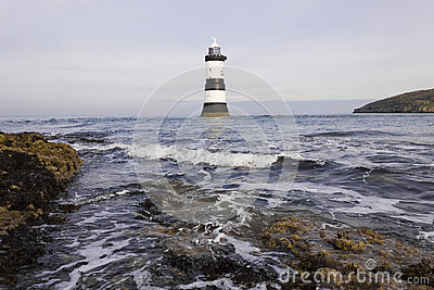 View of Penmon Lighthouse, Penmom Point, Isle of Anglesey, Wales