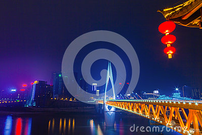 The skyline bridge over the Jialing river Landmark of Chongqing