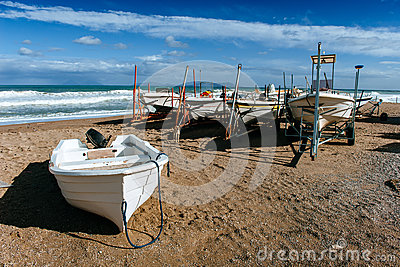 Boats ashore on the sand