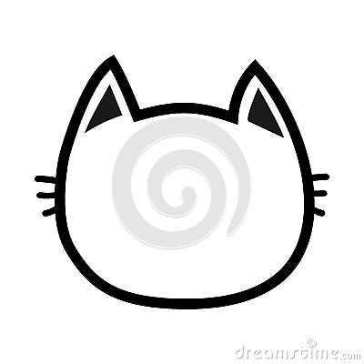 Black cat head face contour silhouette icon. Line pictogram. Cute funny cartoon character. Kitty kitten whisker Empty template.