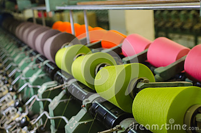 stock image of textile industry - spinning machine in a textile factory