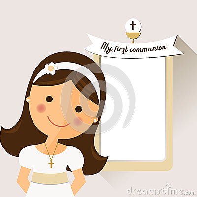 My first communion invitation with message and foreground girls