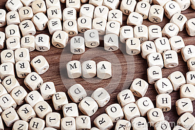 Mergers and Acquisitions abbreviation, letter dices word